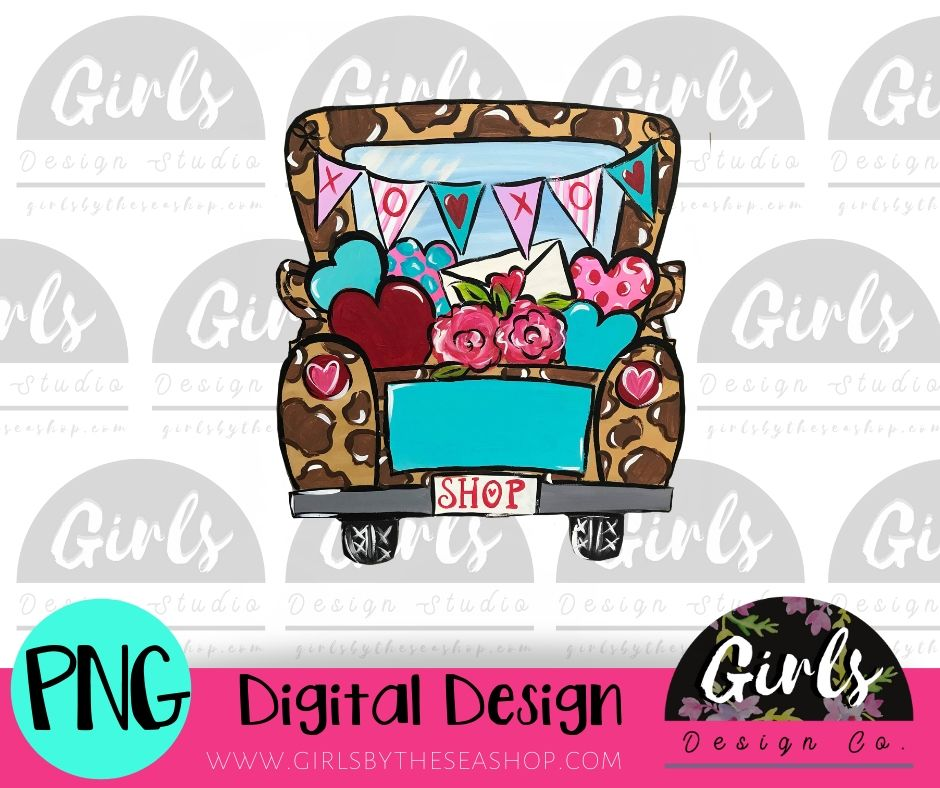 Cheetah Valentines Truck DIGITAL FILE-desser, Digital, Digital Design, Digital File, PNG, Sublimation, SVG, Transfer-Shop-Wholesale-Womens-Boutique-Custom-Graphic-Tees-Branding-Gifts