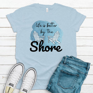 S - Life is Better at the Shore Heather Ice Blue