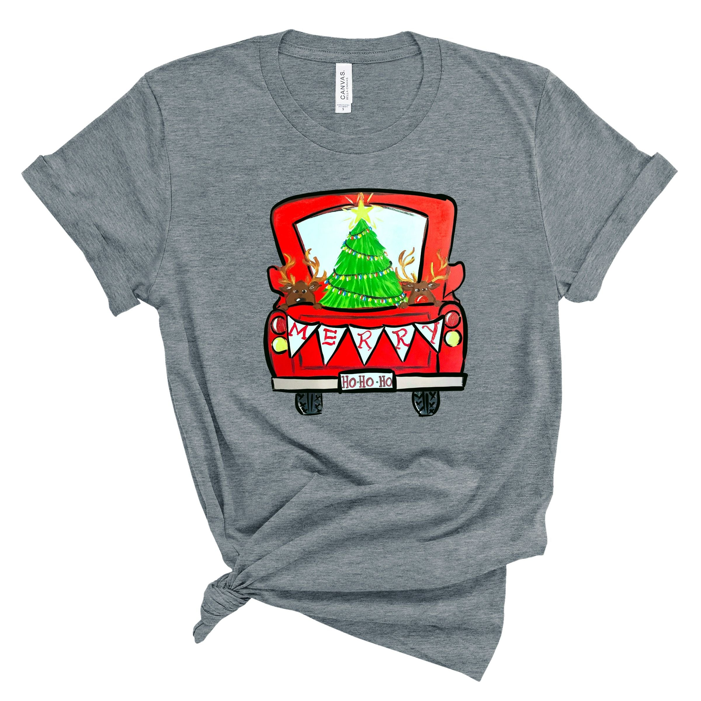 WHOLESALE :: Xmas Truck~ Deep Heather Gray-WXmas-Shop-Wholesale-Womens-Boutique-Custom-Graphic-Tees-Branding-Gifts