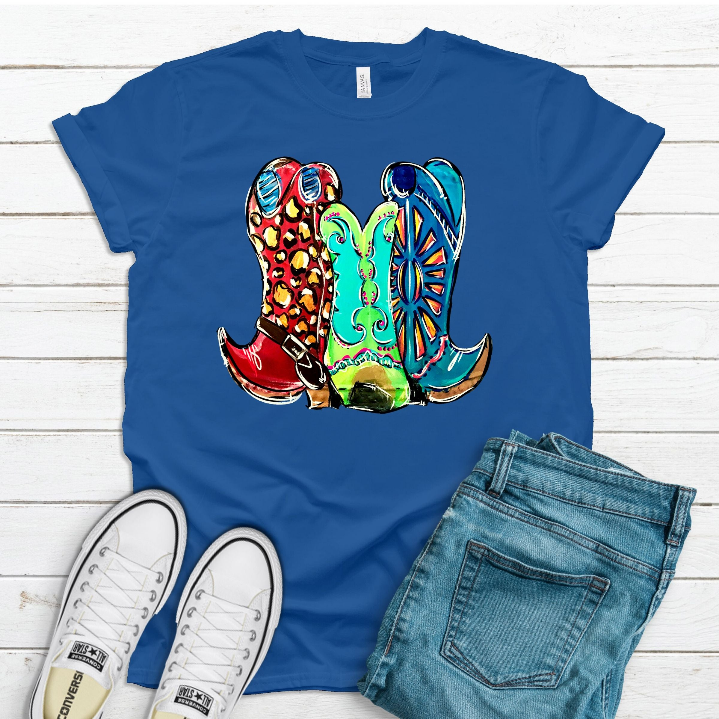 Neon Boots ~ Heather Royal ~ Adult T-Shirt-Shop-Wholesale-Womens-Boutique-Custom-Graphic-Tees-Branding-Gifts