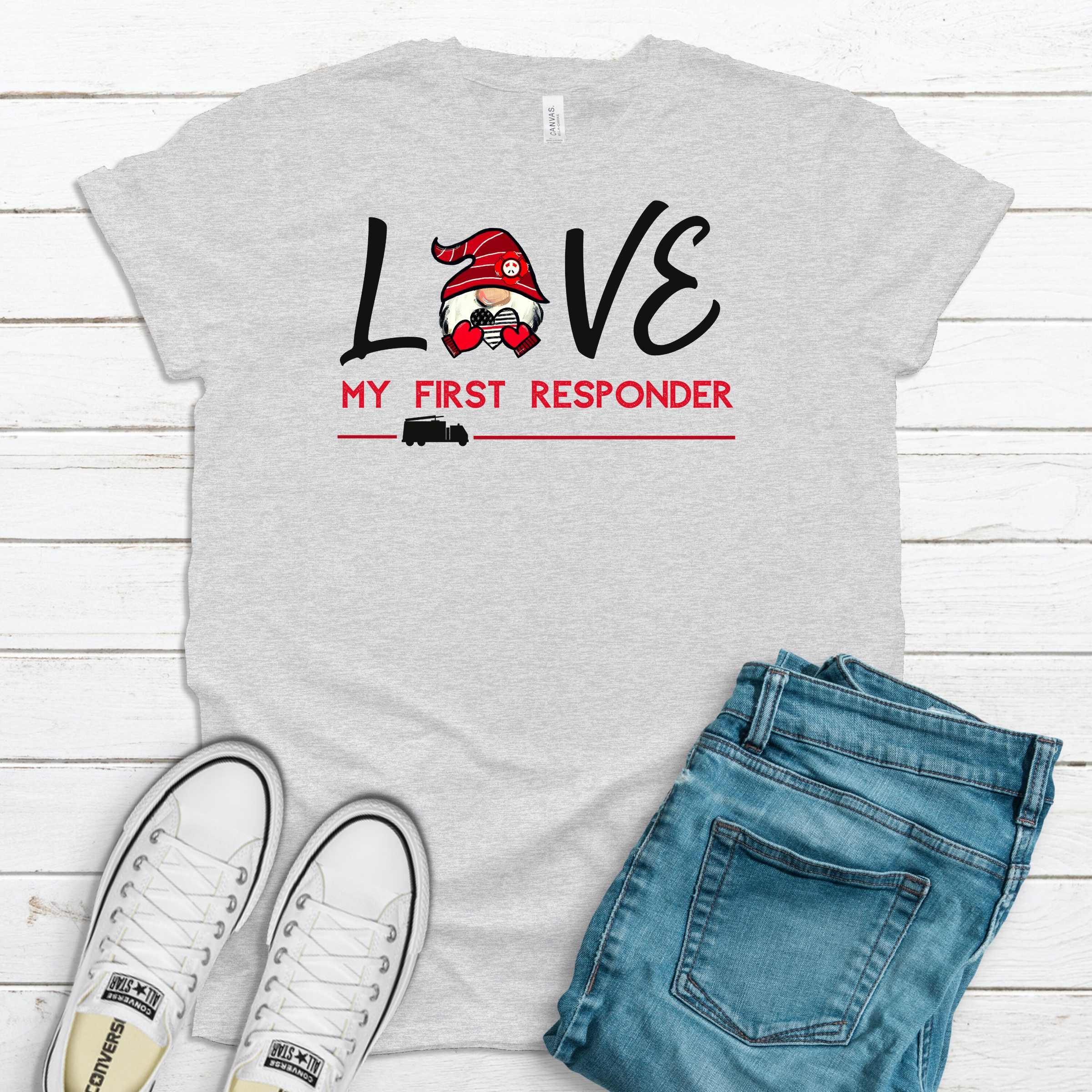S - Love My First Responder Fire - Ash Gray Shirt-Shop-Wholesale-Womens-Boutique-Custom-Graphic-Tees-Branding-Gifts