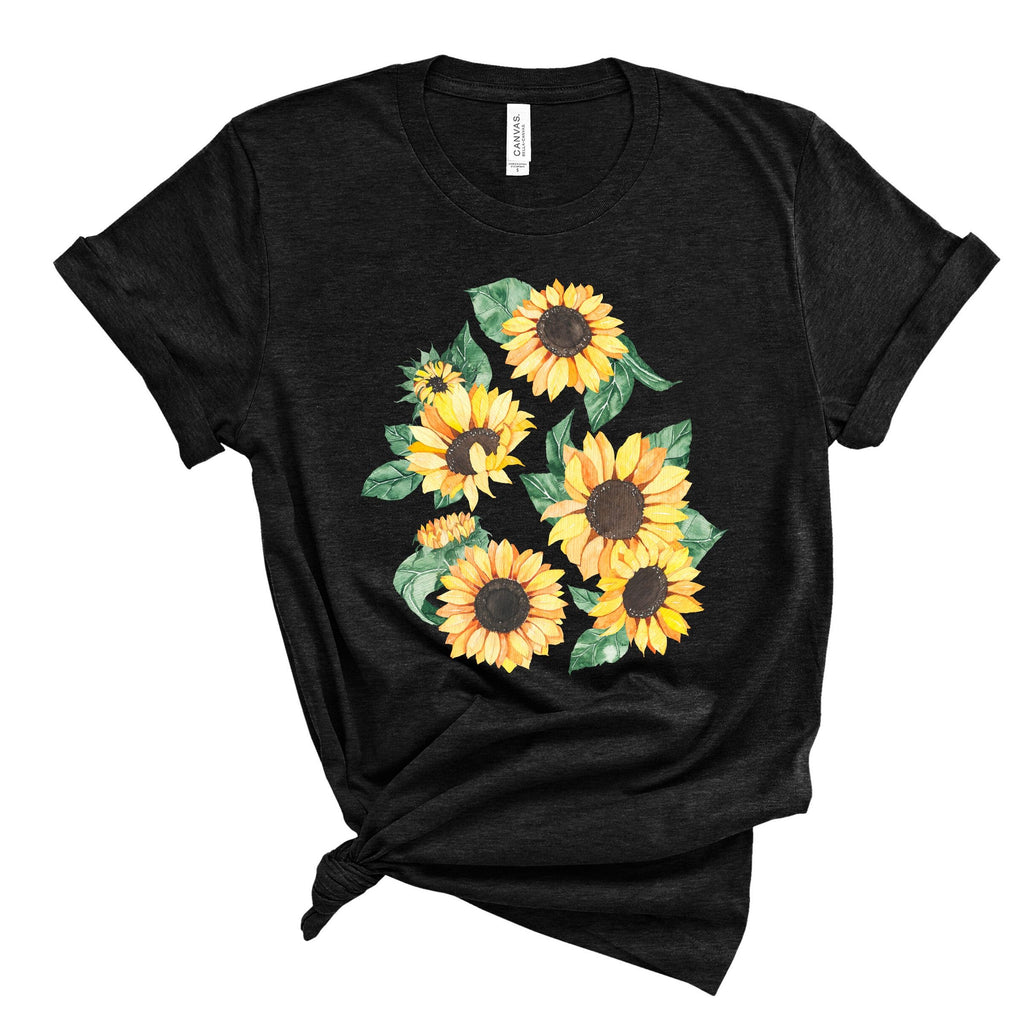 Sunflowers ~ Black~ Adult T-Shirt-Shop-Wholesale-Womens-Boutique-Custom-Graphic-Tees-Branding-Gifts