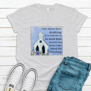 S - Church Doors Shutting - Gray-Shop-Wholesale-Womens-Boutique-Custom-Graphic-Tees-Branding-Gifts