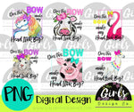 Bow Animal Children's Bundle ~ 6 DIGITAL FILES-bow, children, cow, Digital Design, Digital File, flamingo, girls, kids, llama, pig, PNG, sheep, Sublimation, SVG, Transfer, unicorn-Shop-Wholesale-Womens-Boutique-Custom-Graphic-Tees-Branding-Gifts