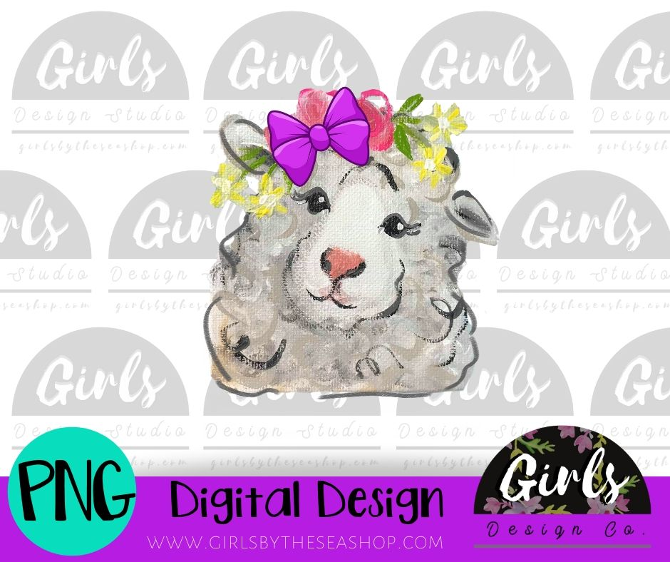 Bow Sheep DIGITAL FILE-Bow, desser, Digital, Digital Design, Digital File, PNG, Sheep, Sublimation, SVG, Transfer-Shop-Wholesale-Womens-Boutique-Custom-Graphic-Tees-Branding-Gifts