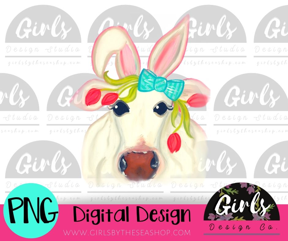 Easter Bunny Cow DIGITAL FILE-desser, Digital, Digital Design, Digital File, FarmDesign, PNG, Sublimation, SVG, Transfer-Shop-Wholesale-Womens-Boutique-Custom-Graphic-Tees-Branding-Gifts