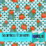 Cheetah Pumpkins with Blue Glitter Stripes SEAMLESS FILE