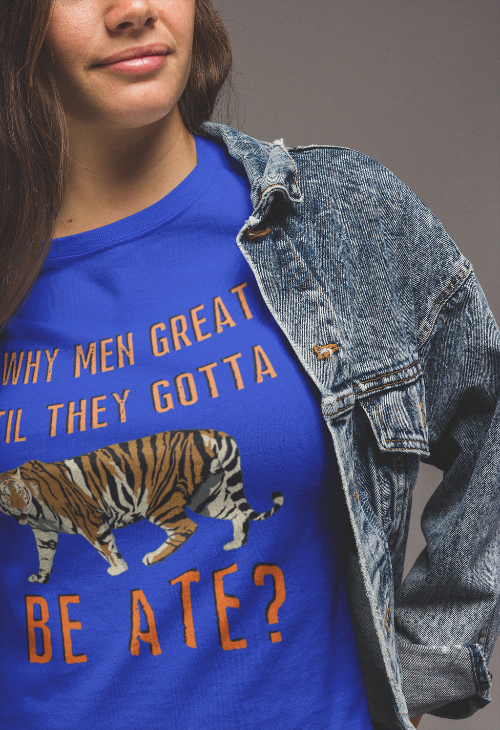 Why Men Great T-Shirt - Adults-blue, exotic, king, tiger, tiger king-Shop-Wholesale-Womens-Boutique-Custom-Graphic-Tees-Branding-Gifts