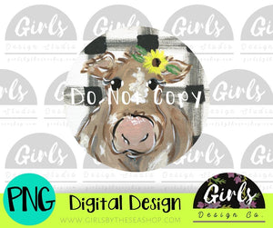 Cow On Plaid Car Coaster DIGITAL FILE