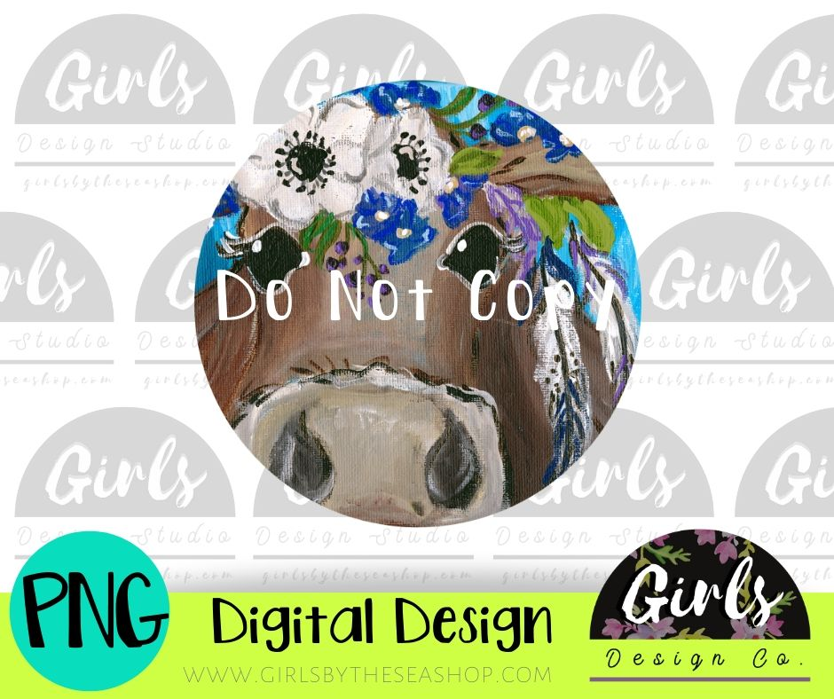 Cow With Floral Headband Car Coaster DIGITAL FILE