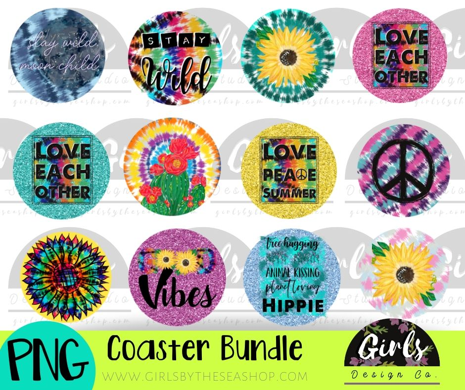 Tie Dye Car Coaster Bundle DIGITAL FILES