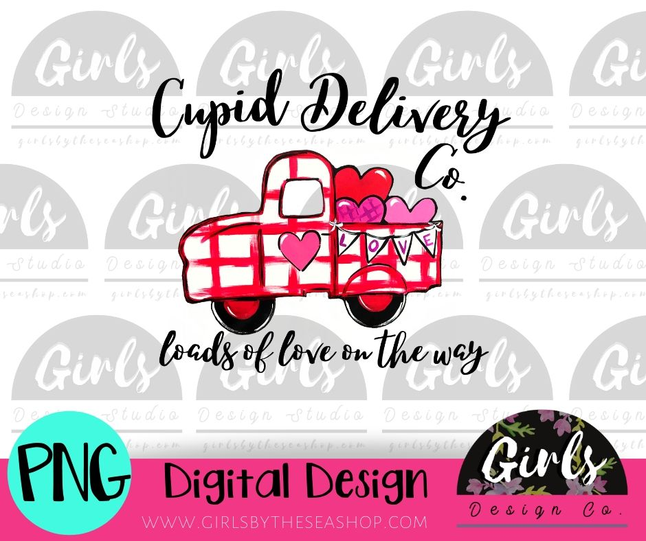 Cupid Delivery Co Truck DIGITAL FILE-desser, Digital, Digital Design, Digital File, PNG, Sublimation, SVG, Transfer-Shop-Wholesale-Womens-Boutique-Custom-Graphic-Tees-Branding-Gifts