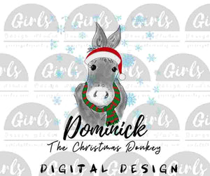 Dominick the Donkey ~ DIGITAL FILE-Christmas, ChristmasDesign, ChristmasDonkey, Digital, Digital Design, Digital File, Dominick, DominicktheDonkey, DOnkey, FarmDesign, PNG, Sublimation, SVG, Transfer-Shop-Wholesale-Womens-Boutique-Custom-Graphic-Tees-Branding-Gifts