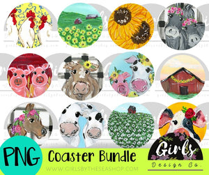 Farmhouse Car Coaster Bundle DIGITAL FILES-barn, car, chicken, coaster, cotton, cow, Digital Design, Digital File, earring, farmdesign, horse, pig, PNG, Sublimation, sunflower, SVG, Transfer-Shop-Wholesale-Womens-Boutique-Custom-Graphic-Tees-Branding-Gifts