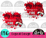 My Heart Belongs To A Fire Fighter Gnome DIGITAL FILE-desser, Digital, Digital Design, Digital File, PNG, Sublimation, SVG, Transfer-Shop-Wholesale-Womens-Boutique-Custom-Graphic-Tees-Branding-Gifts