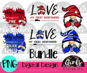 Police/Fire Gnome Valentines Bundle ~ 15 DIGITAL FILES