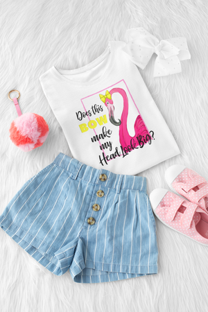 S - Does This Bow? - Flamingo - Kids-Shop-Wholesale-Womens-Boutique-Custom-Graphic-Tees-Branding-Gifts