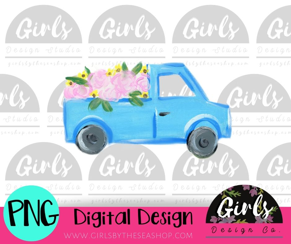 Spring Flower Truck DIGITAL FILE-desser, Digital, Digital Design, Digital File, PNG, springdesign, Sublimation, SVG, Transfer-Shop-Wholesale-Womens-Boutique-Custom-Graphic-Tees-Branding-Gifts