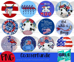 Patriotic Car Coaster Bundle DIGITAL FILES