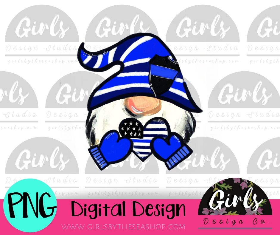 Police Love Gnome DIGITAL FILE-ADDMember, desser, Digital, Digital Design, Digital File, PNG, Sublimation, SVG, Transfer-Shop-Wholesale-Womens-Boutique-Custom-Graphic-Tees-Branding-Gifts