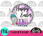Happy Easter Y'all Bunny Gnome DIGITAL FILE-desser, Digital, Digital Design, Digital File, PNG, Sublimation, SVG, Transfer-Shop-Wholesale-Womens-Boutique-Custom-Graphic-Tees-Branding-Gifts