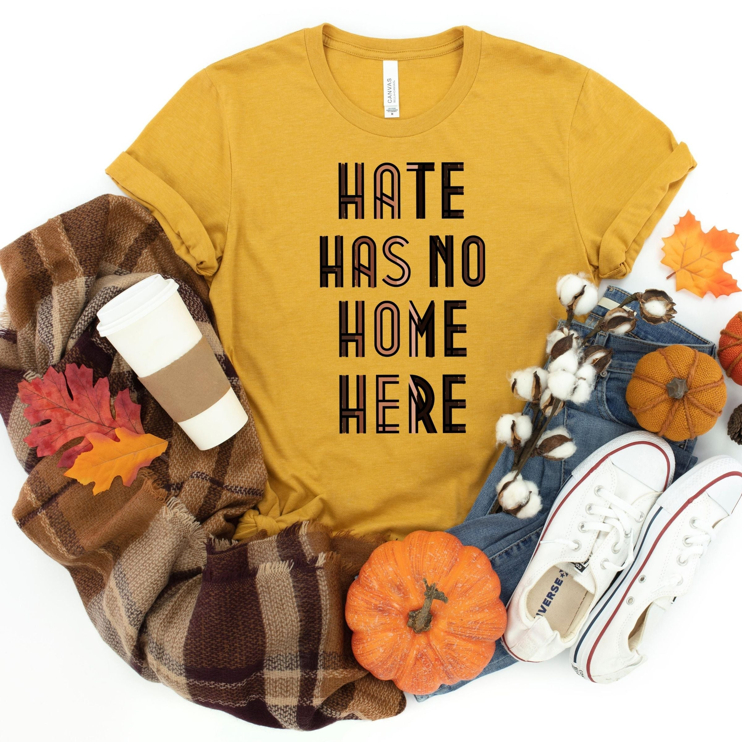 WHOLESALE :: Hate Has No Home Here~ Gold-Shop-Wholesale-Womens-Boutique-Custom-Graphic-Tees-Branding-Gifts