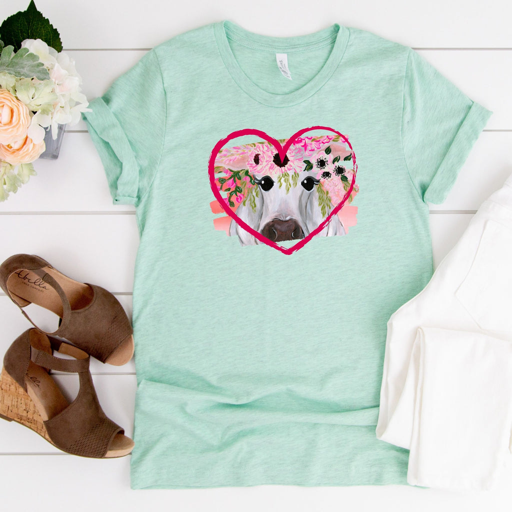 WHOLESALE :: Heart Cow ~ Heather Mint ~ Adult T Shirt-1217-Shop-Wholesale-Womens-Boutique-Custom-Graphic-Tees-Branding-Gifts