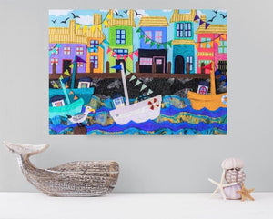Sailboat Boardwalk Art-Art, Beach_Decor, Beach_House_Decor, Boardwalk_Art, Mixed_Media, Nautical_Decor, Nautical_Nursery, Nursery_Decor, Sailboat_Art, Sailboat_Decor, Sailboat_Nursery, Sailboat_Painting, Sailboat_Print, Whimsical_Art-Shop-Wholesale-Womens-Boutique-Custom-Graphic-Tees-Branding-Gifts