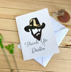 Thank You Card - Thank You Darlin-Anniversary, beards, Blank_card, Cowboy_card, Cowboy_hat, Cowboy_Thank_you, Funny_Cards, Gratitude_card, Greeting_Card, Paper_Goods, Spouse, Texas_Card, Thank_you_card, Western-Shop-Wholesale-Womens-Boutique-Custom-Graphic-Tees-Branding-Gifts