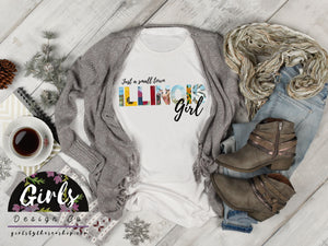 S - ILLINOIS Small Town Girl T-Shirt - Adults / Youth / Baby-Shop-Wholesale-Womens-Boutique-Custom-Graphic-Tees-Branding-Gifts