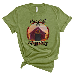 Harvest Blessings ~ Heather Green ~ Adult T-Shirt-Shop-Wholesale-Womens-Boutique-Custom-Graphic-Tees-Branding-Gifts