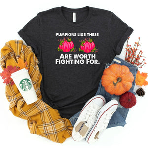 Pumpkins Worth Fighting For ~ Dark Grey ~ Adult T-Shirt-Shop-Wholesale-Womens-Boutique-Custom-Graphic-Tees-Branding-Gifts