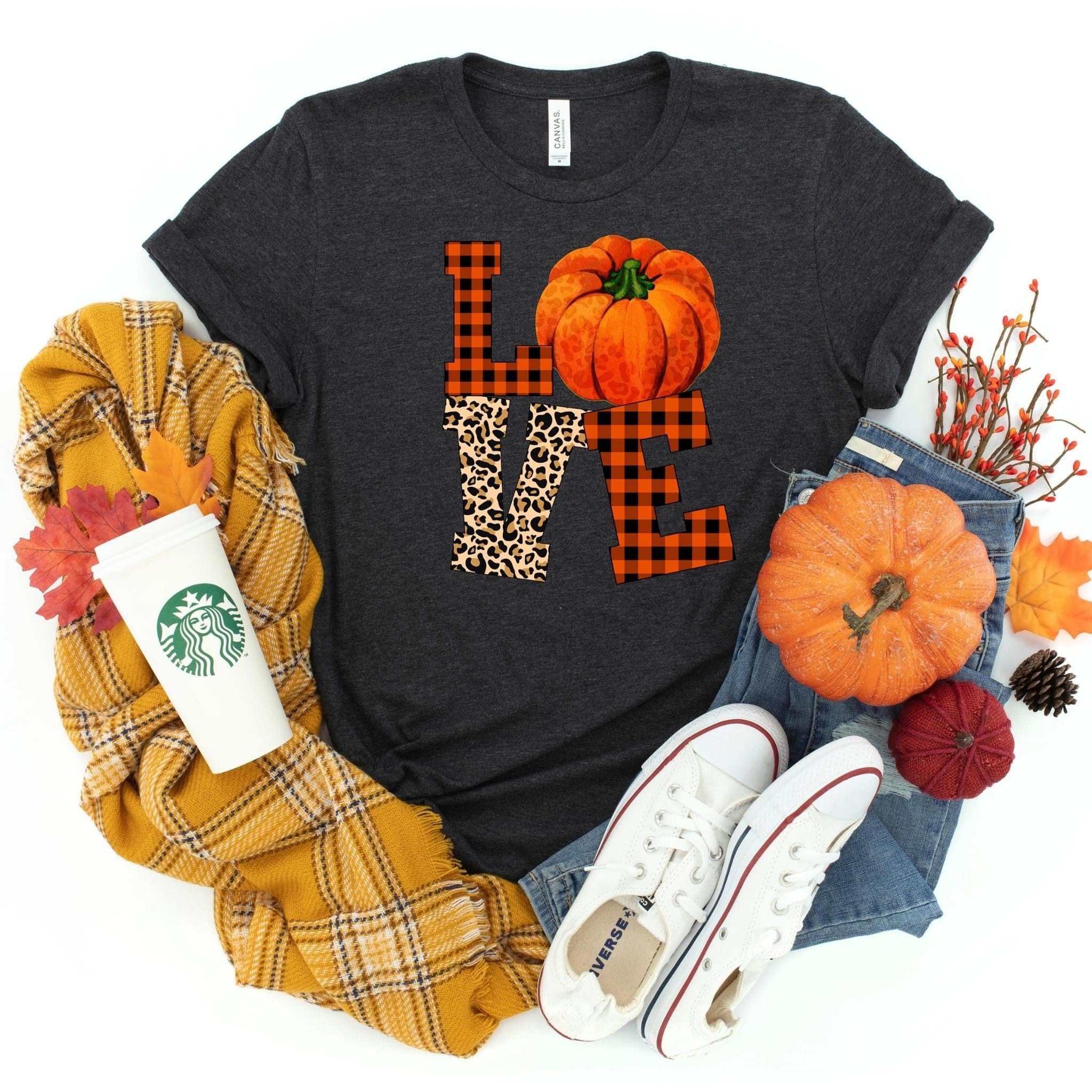 Pumpkin Love ~ Dark Grey ~ Adult T-Shirt