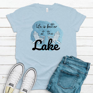 Life Is Better At The Lake ~ Heather Ice Blue ~ Adult T-Shirt-Shop-Wholesale-Womens-Boutique-Custom-Graphic-Tees-Branding-Gifts