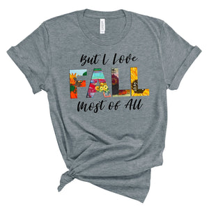 Love Fall Most Of All ~ Heather Athletic ~ Adult T-Shirt-Shop-Wholesale-Womens-Boutique-Custom-Graphic-Tees-Branding-Gifts
