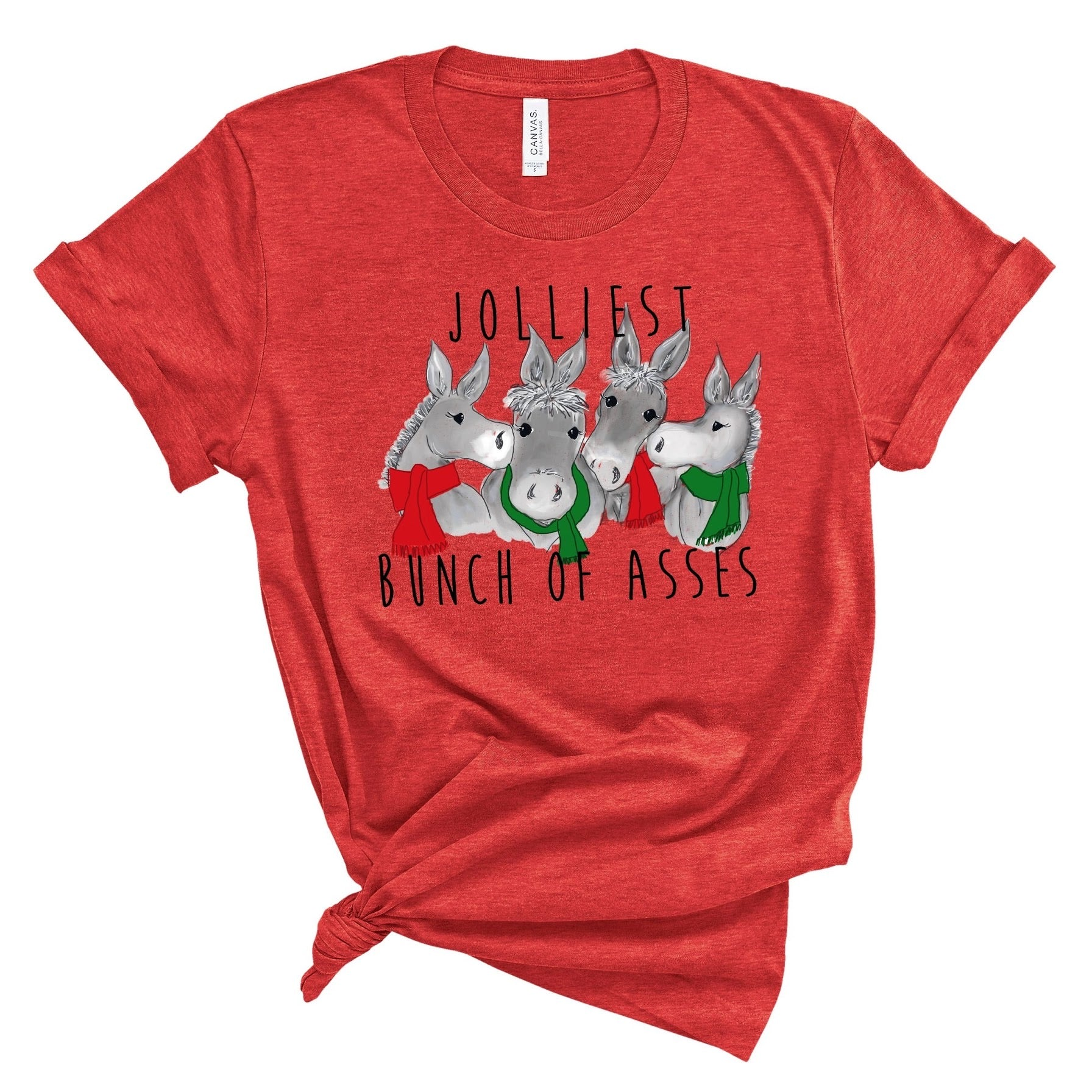 Jolliest Bunch Of Asses ~ Heather Red ~ Adult T-Shirt-Shop-Wholesale-Womens-Boutique-Custom-Graphic-Tees-Branding-Gifts