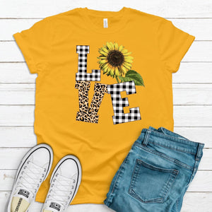 Sunflower Love ~ Gold ~ Adult T-Shirt-Shop-Wholesale-Womens-Boutique-Custom-Graphic-Tees-Branding-Gifts