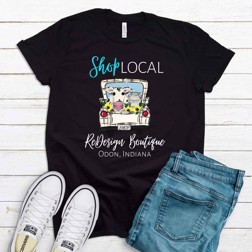 Wholesale :: Shop Local Cow Truck (Teal) - Black-Shop-Wholesale-Womens-Boutique-Custom-Graphic-Tees-Branding-Gifts
