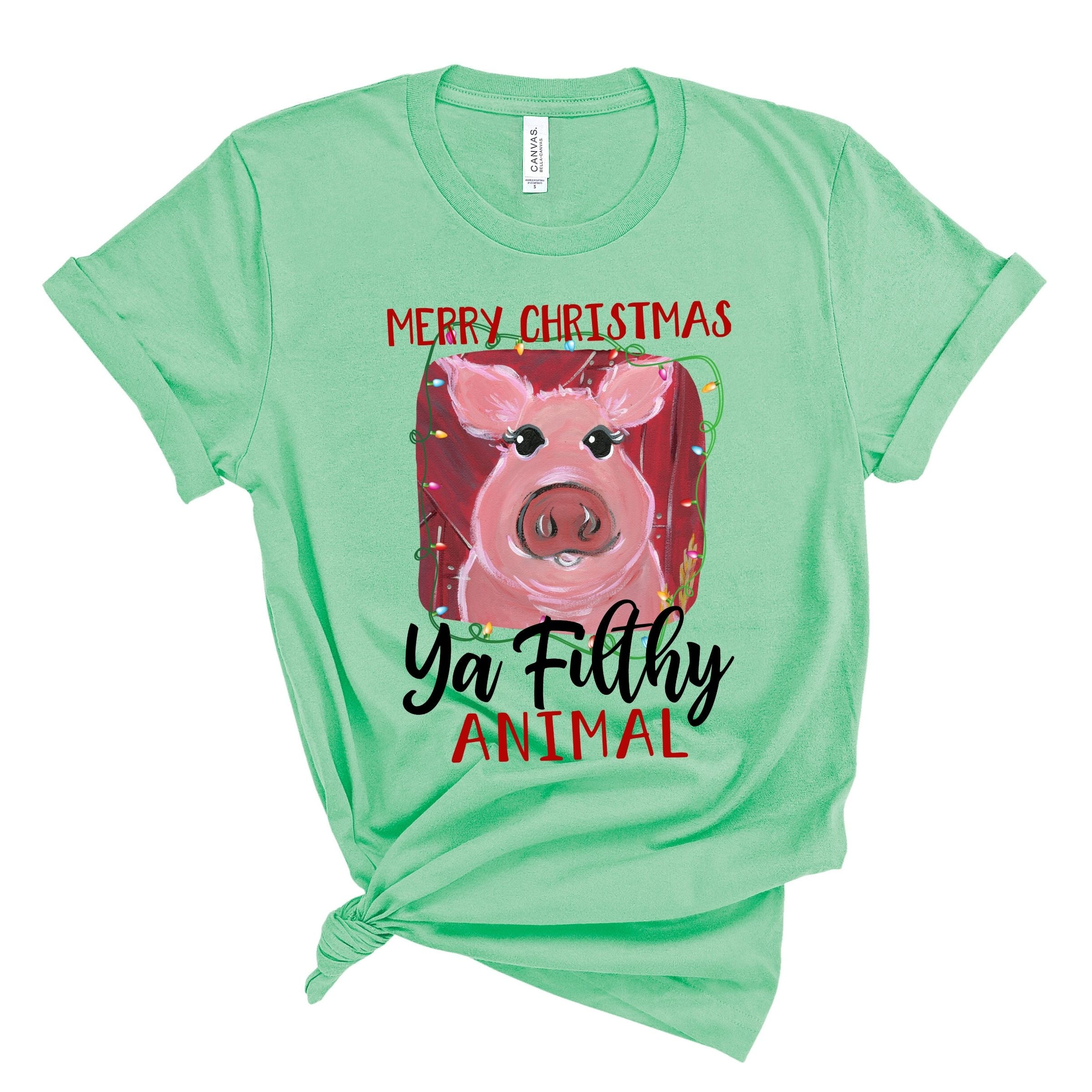 WHOLESALE :: Filthy Animal Pig ~ Heather Mint-WXmas-Shop-Wholesale-Womens-Boutique-Custom-Graphic-Tees-Branding-Gifts