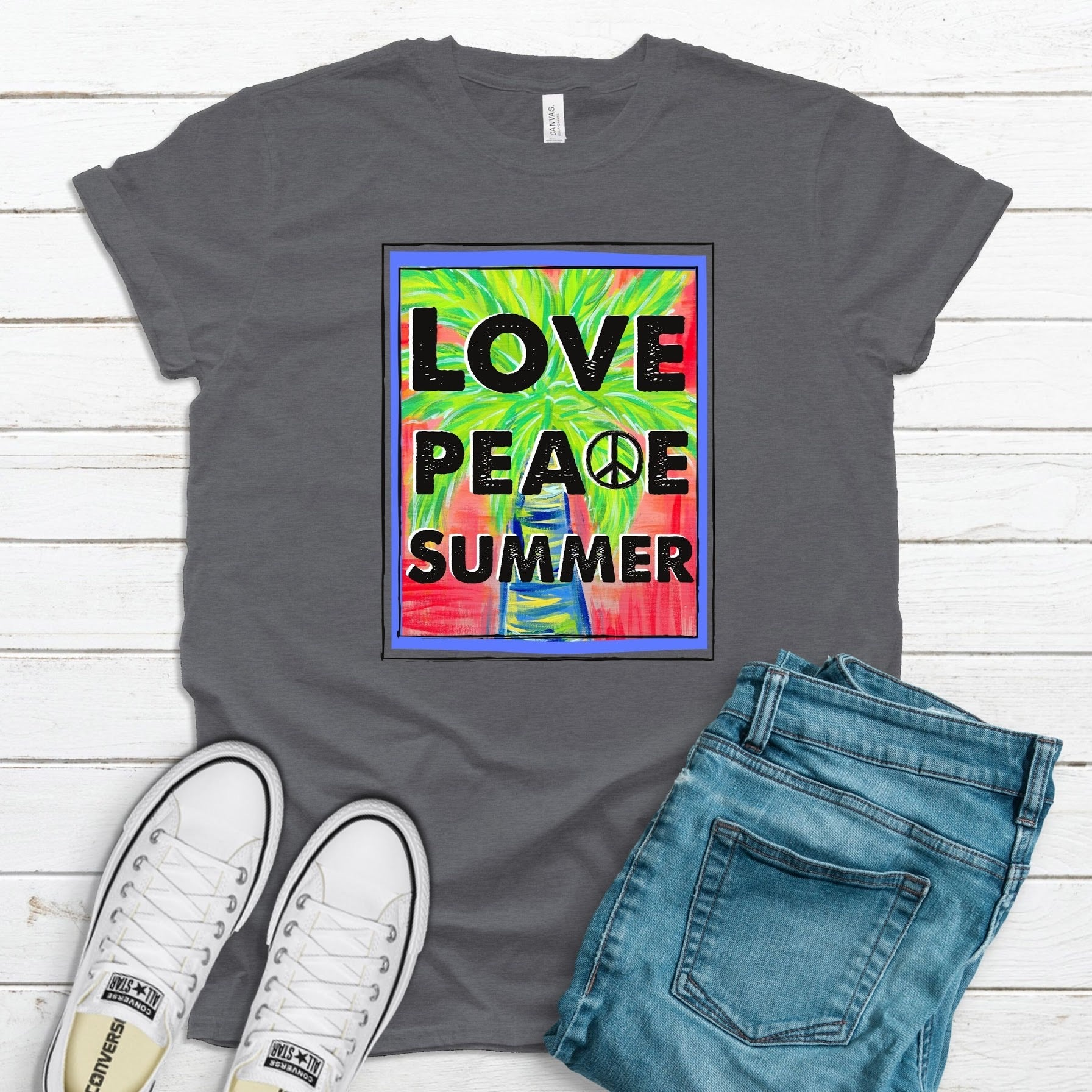 Love, Peace, Summer ~ Deep Heather ~ Adult T-Shirt-Shop-Wholesale-Womens-Boutique-Custom-Graphic-Tees-Branding-Gifts