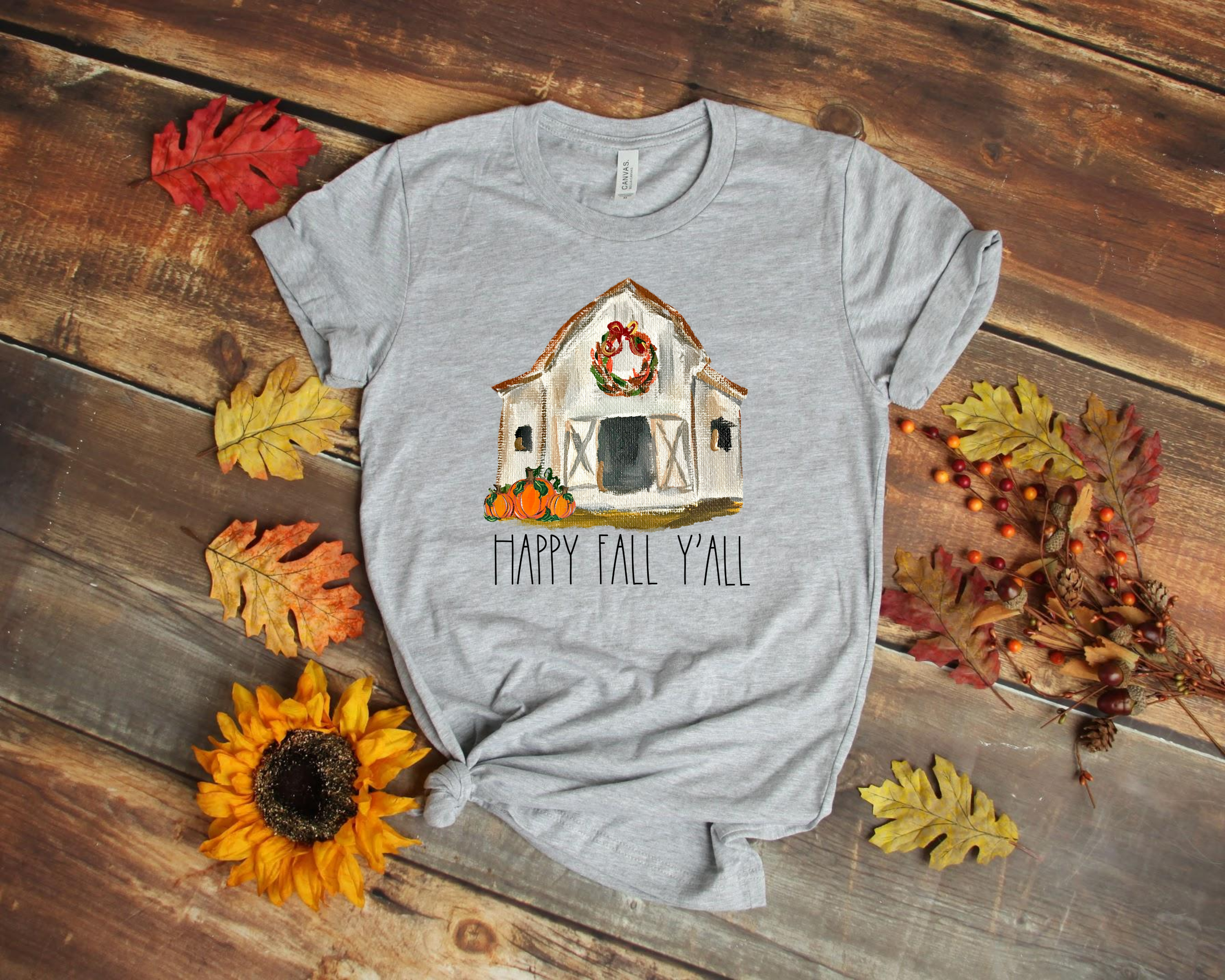 Happy Fall Y'all ~ Heather Athletic ~ Adult T-Shirt-Shop-Wholesale-Womens-Boutique-Custom-Graphic-Tees-Branding-Gifts