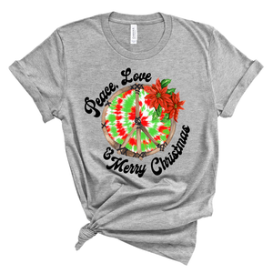 Peace, Love, Merry Christmas ~ Athletic Heather ~ Adult T-Shirt-Shop-Wholesale-Womens-Boutique-Custom-Graphic-Tees-Branding-Gifts