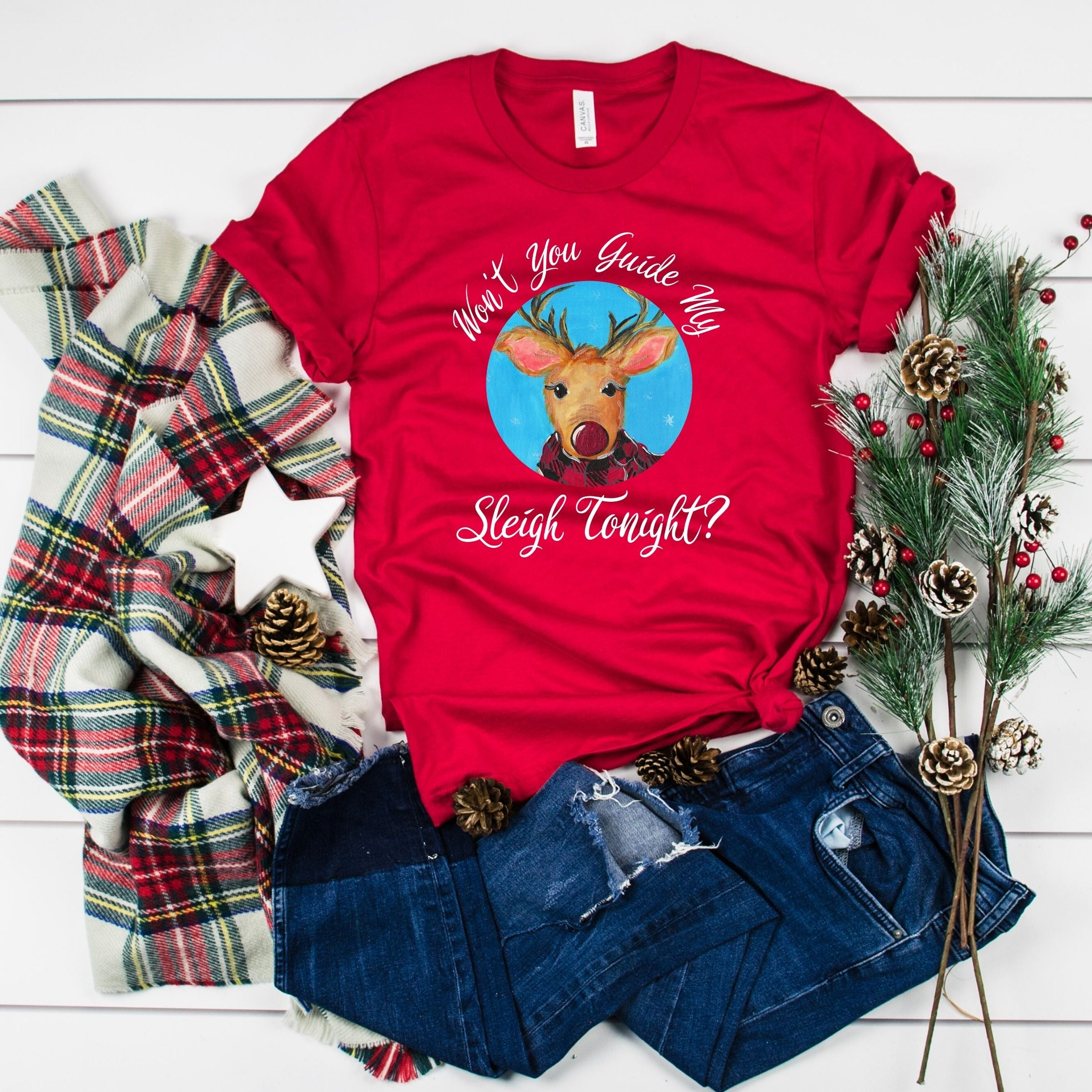 WHOLESALE :: Won't You Guide ~ Red-WXmas-Shop-Wholesale-Womens-Boutique-Custom-Graphic-Tees-Branding-Gifts