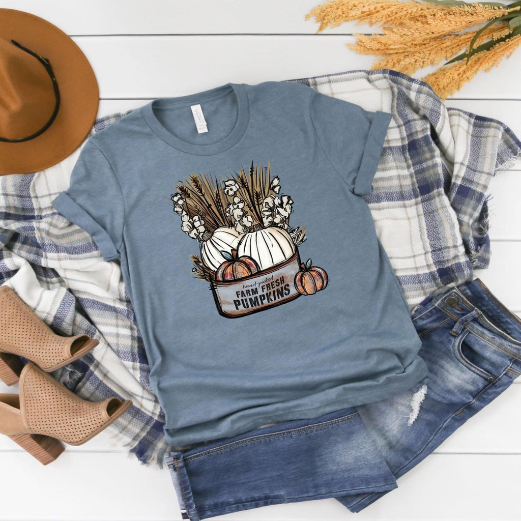 Farm Fresh Pumpkins ~ Heather Slate ~ Adult T-Shirt-Shop-Wholesale-Womens-Boutique-Custom-Graphic-Tees-Branding-Gifts