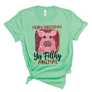 Merry Christmas, Ya Filthy Animal (Pig) ~ Mint ~ Adult T-Shirt-Shop-Wholesale-Womens-Boutique-Custom-Graphic-Tees-Branding-Gifts