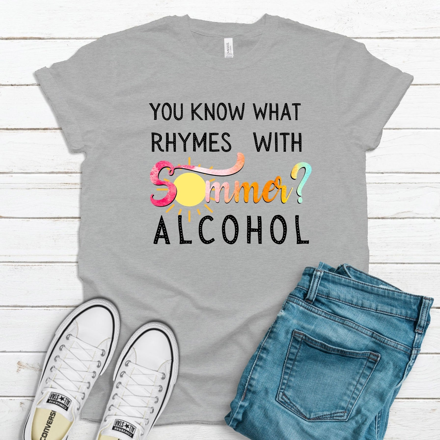 Rhymes With Summer ~ Athletic Heather ~ Adult T-Shirt-Shop-Wholesale-Womens-Boutique-Custom-Graphic-Tees-Branding-Gifts