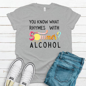 Rhymes With Summer ~ Athletic Heather ~ Adult T-Shirt