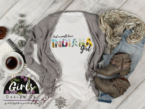 S - INDIANA Small Town Girl T-Shirt - Adults / Youth / Baby-Shop-Wholesale-Womens-Boutique-Custom-Graphic-Tees-Branding-Gifts