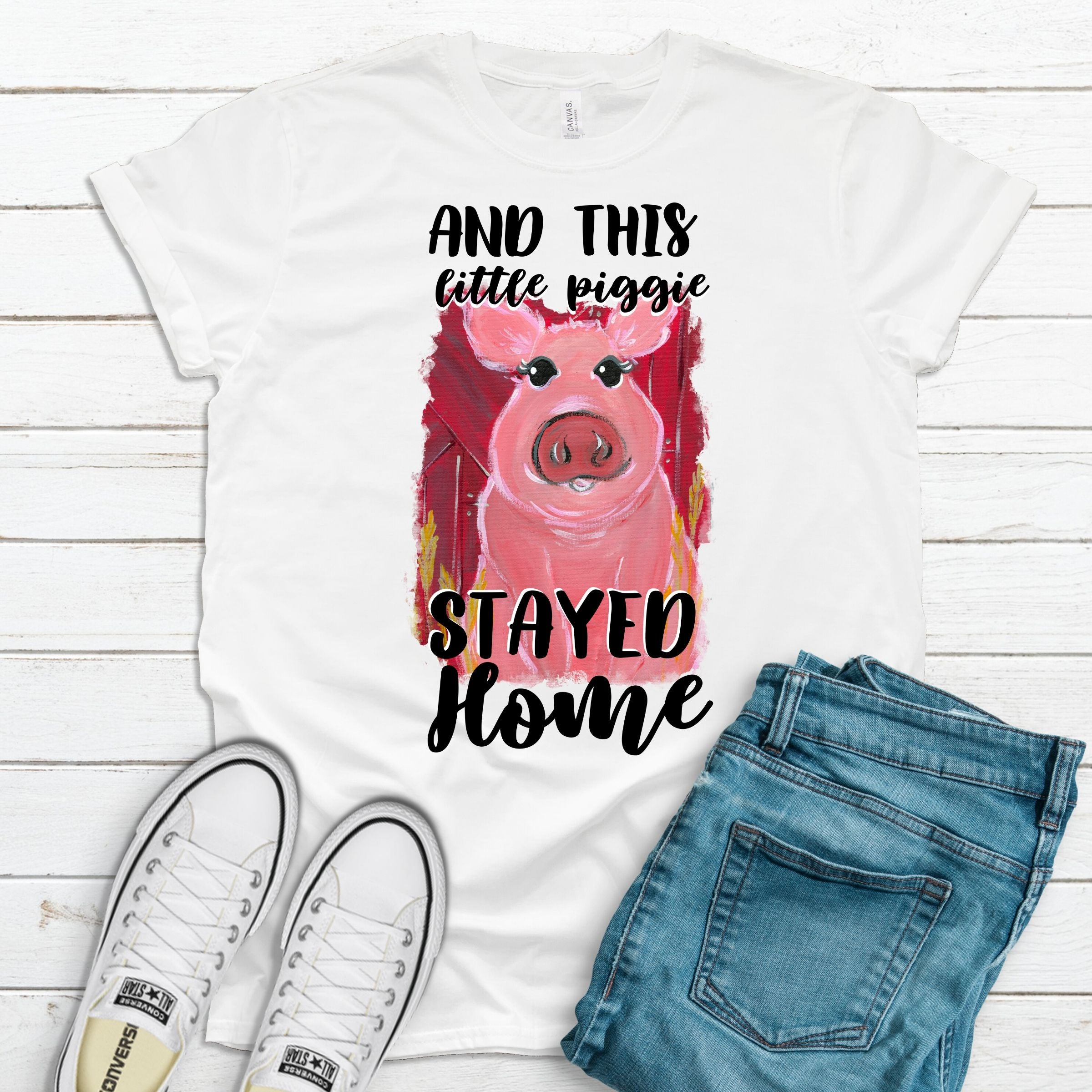S - And This Little Piggie Stayed Home - White-Shop-Wholesale-Womens-Boutique-Custom-Graphic-Tees-Branding-Gifts