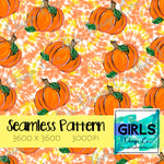 Pumpkins in Orange Tie Dye SEAMLESS FILE